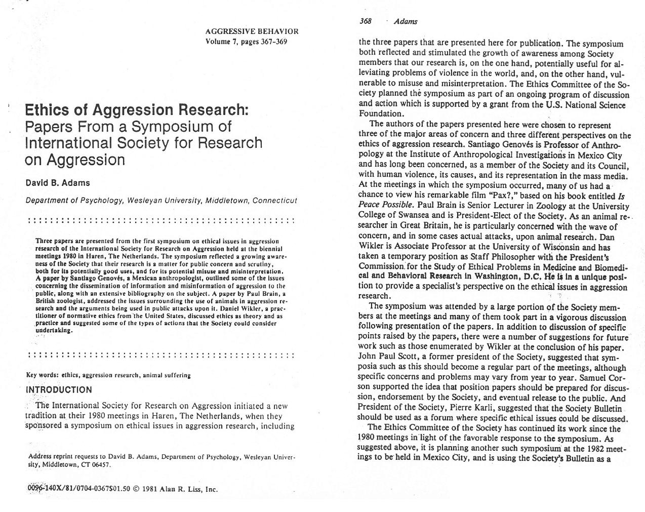 position paper aggression